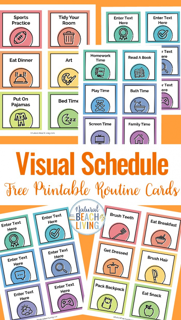 Visual Schedule - Free Printable Routine Cards - Natural Beach Living | Free Printable Daily Routine Picture Cards