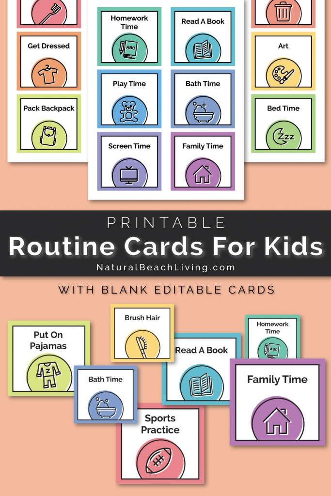 Visual Schedule - Free Printable Routine Cards - Natural Beach Living | Free Printable Picture Schedule Cards