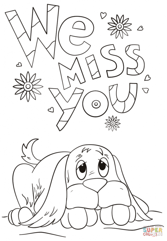 We Miss You Coloring Page | Free Printable Coloring Pages | Coloring | Printable Miss You Cards