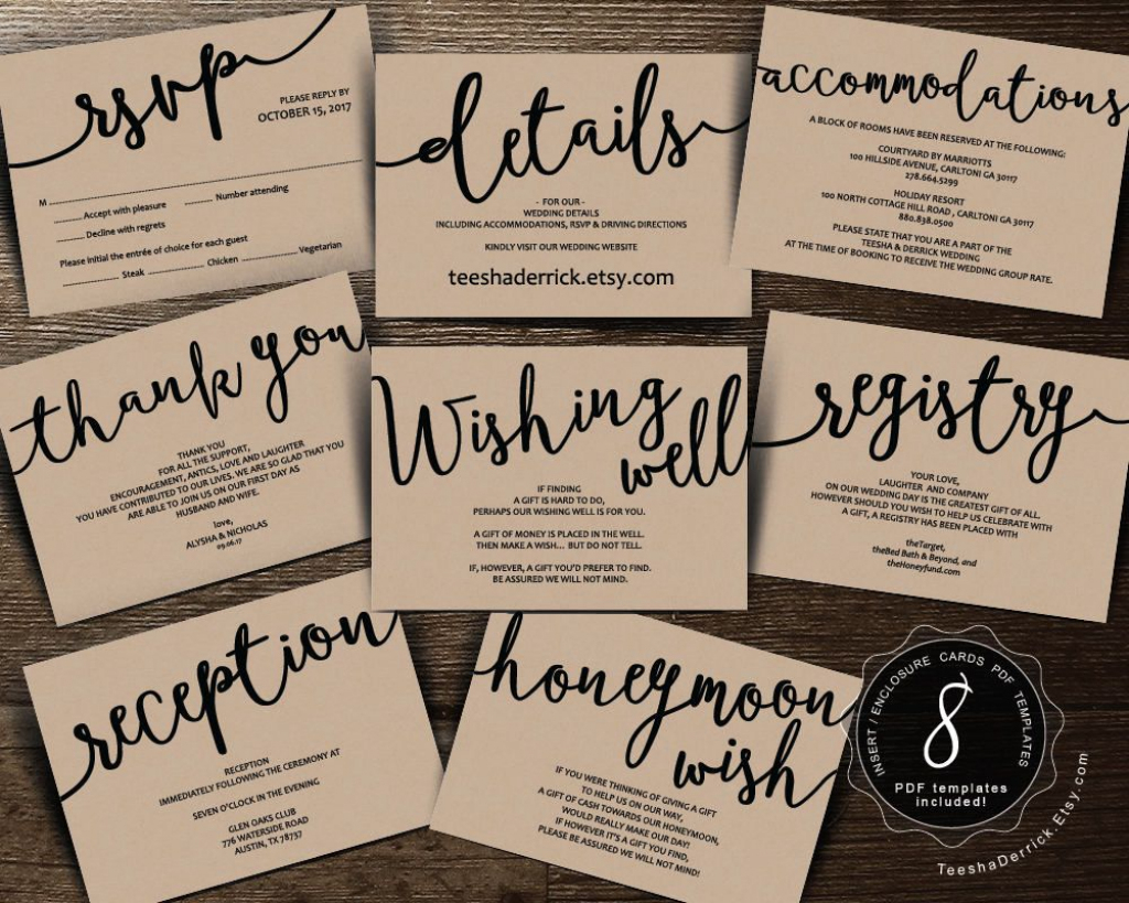 Wedding Insert Cards Pdf Template (Instant Download), Enclosure Card | Free Printable Enclosure Cards