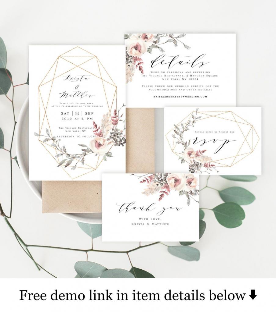 Wedding Invitation Kit Invite Template 100% Editable Unlimited Diy | Free Printable Enclosure Cards