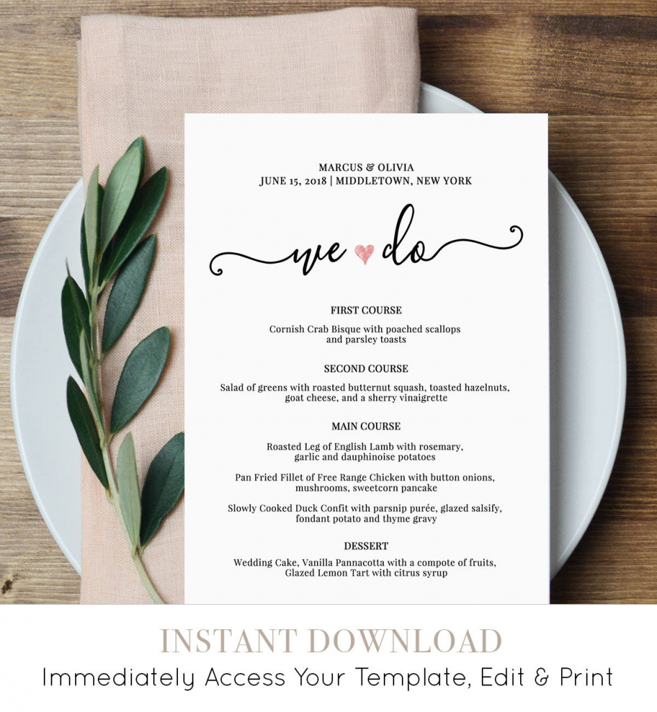 Wedding Menu Card Template, We Do, Printable Dinner Menu, Heart | Free Printable Wedding Menu Card Templates