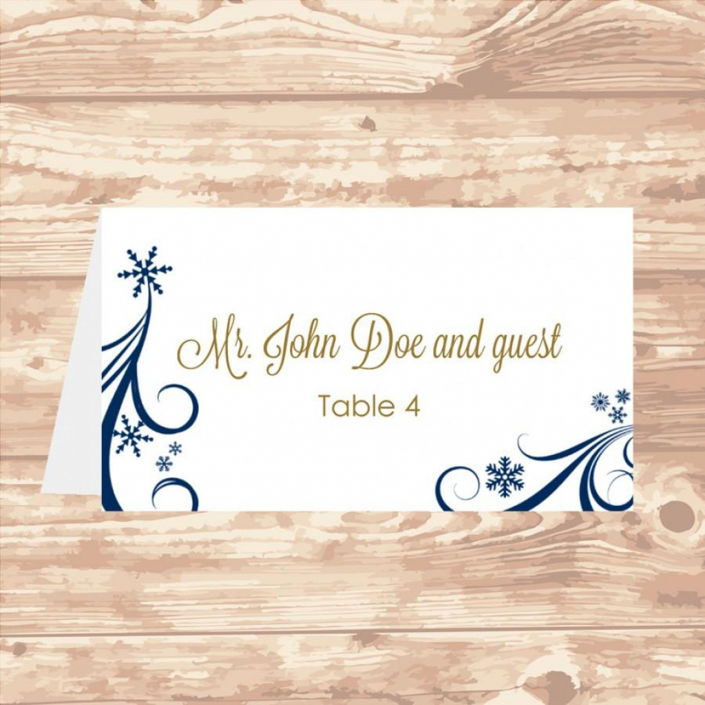 Wedding Place Card Diy Template Navy Swirling Snowflakes Editable | Avery 5302 Printable Place Cards