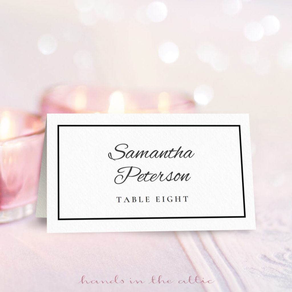 Wedding Place Card Template | Free Download | Hands In The Attic | Printable Wedding Seating Cards