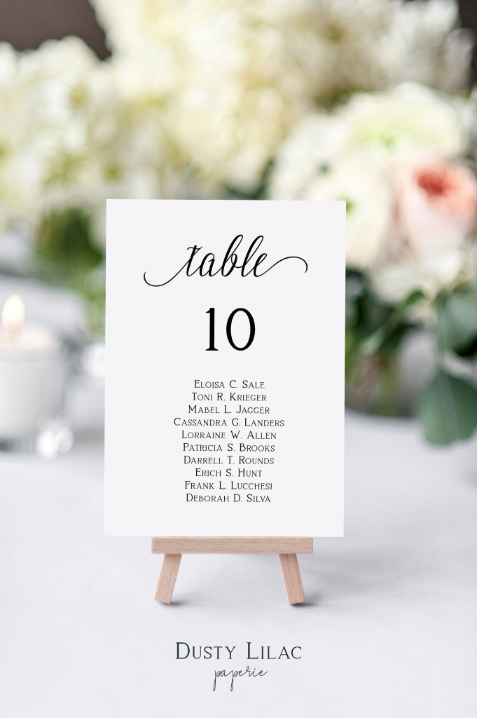 Wedding Table Number Seating Chart Cards Template, Editable Modern | Printable Wedding Seating Cards