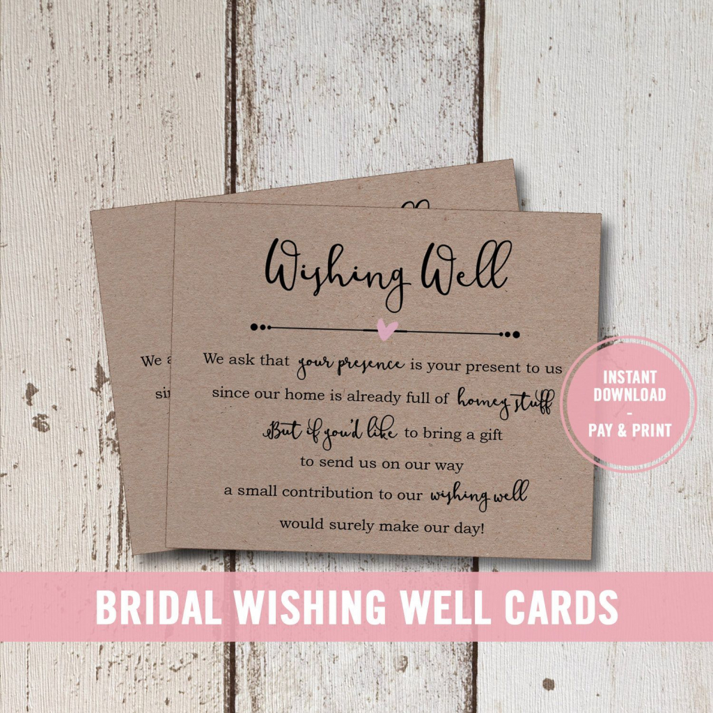 Wedding Wishing Well Card Printable, Bridal Shower Wishing Well | Printable Gift Registry Cards