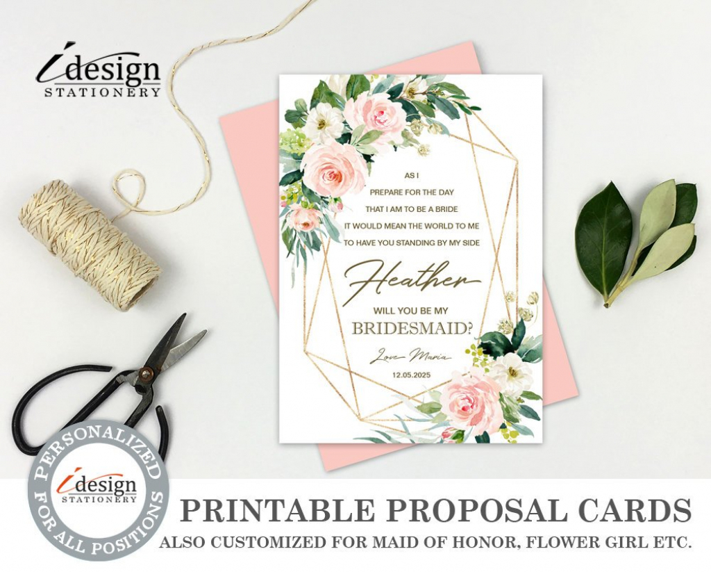 Will You Be My Bridesmaid Card Printable Bridesmaid Proposal | Etsy | Printable Bridesmaid Proposal Cards