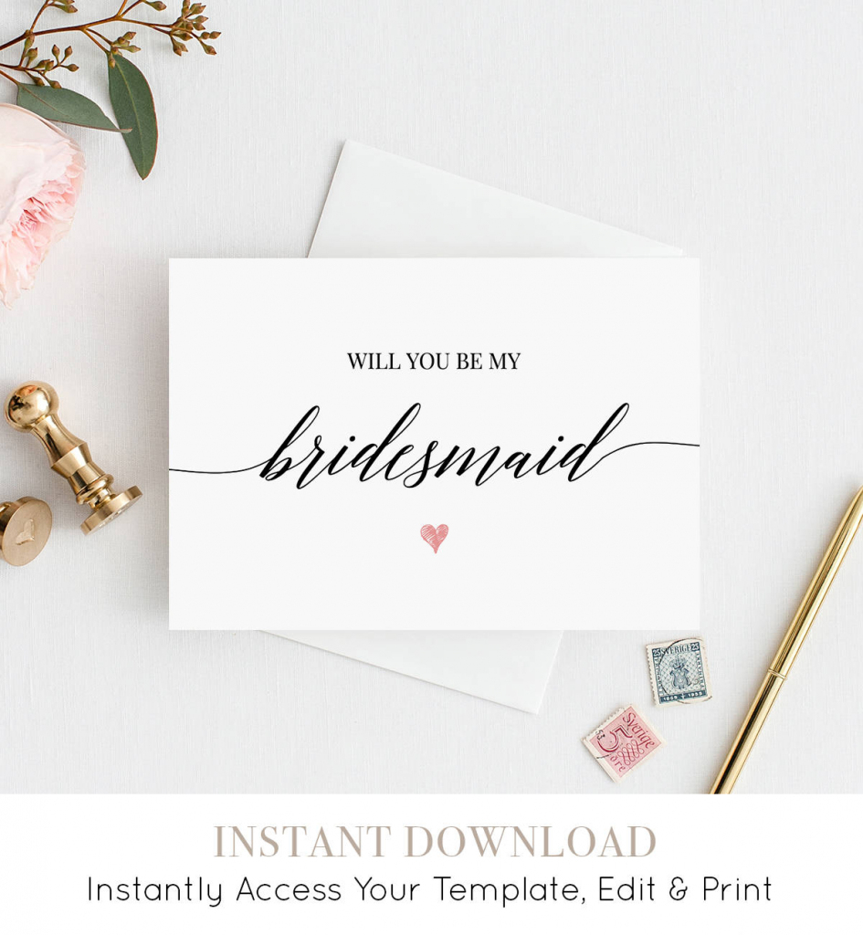 Will You Be My Bridesmaid Printable Card, Ask To Be Bridesmaid | Free Printable Will You Be My Maid Of Honor Card