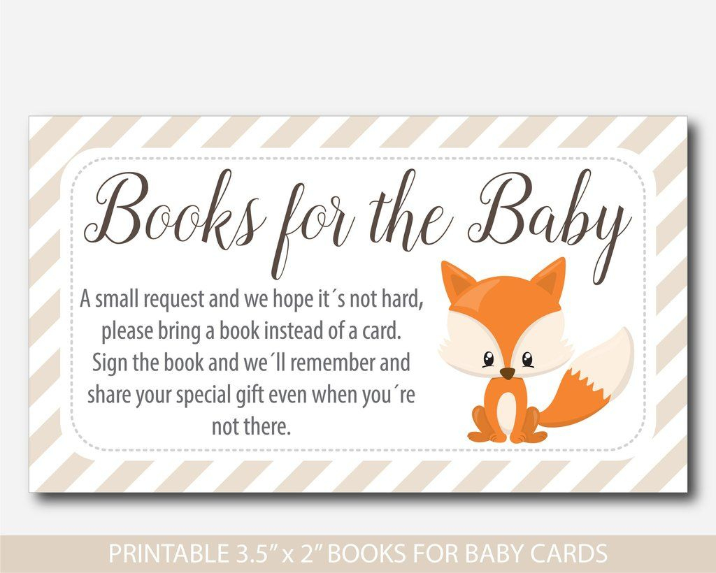 Woodland Bring A Book Instead Of A Card Inserts, Woodland Baby | Please Bring A Book Instead Of A Card Printable