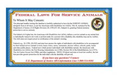 Printable Ada Service Dog Card
