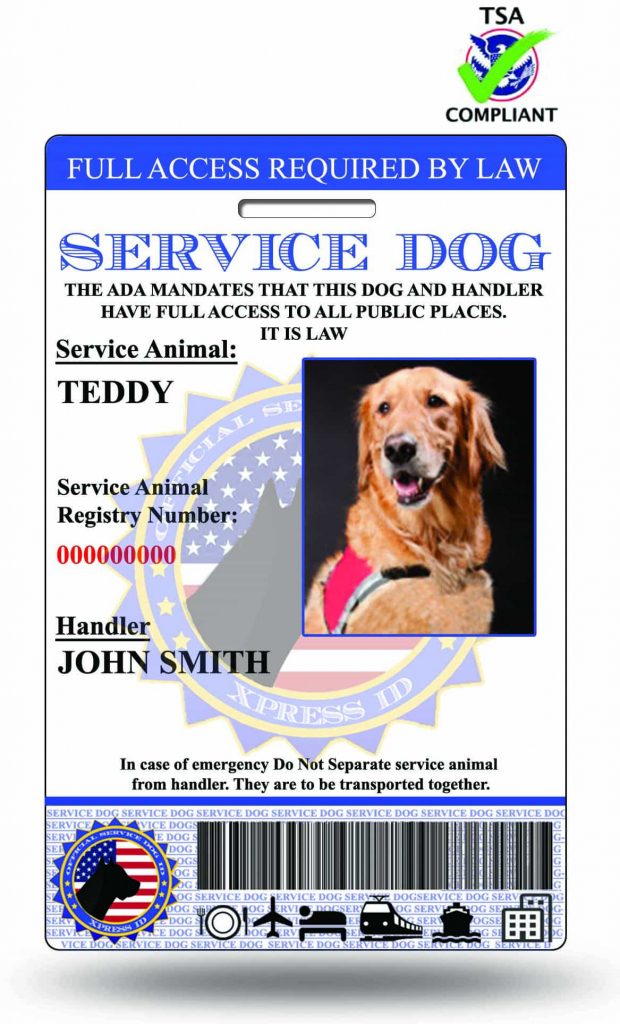 This is an image of Old Fashioned Printable Ada Service Dog Card