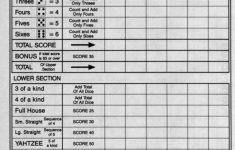 Printable Yahtzee Score Cards Pdf