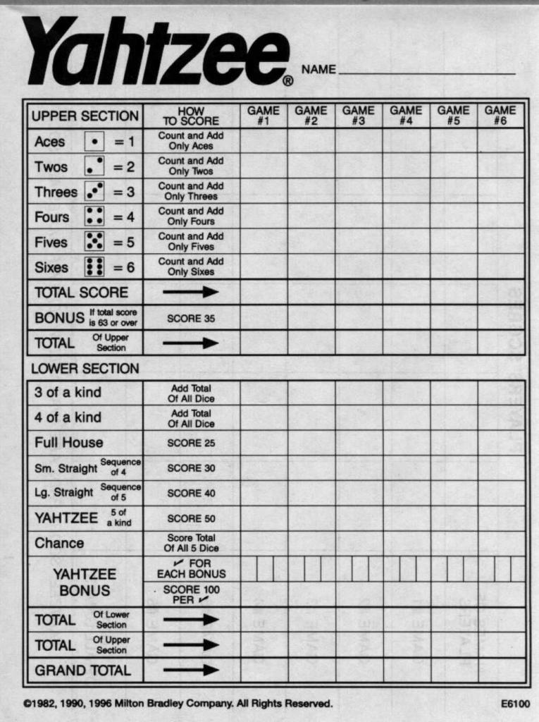 Yahtzee Score Sheets Free Printable | Blank Yahtzee Score Sheet | Printable Yahtzee Score Cards Pdf