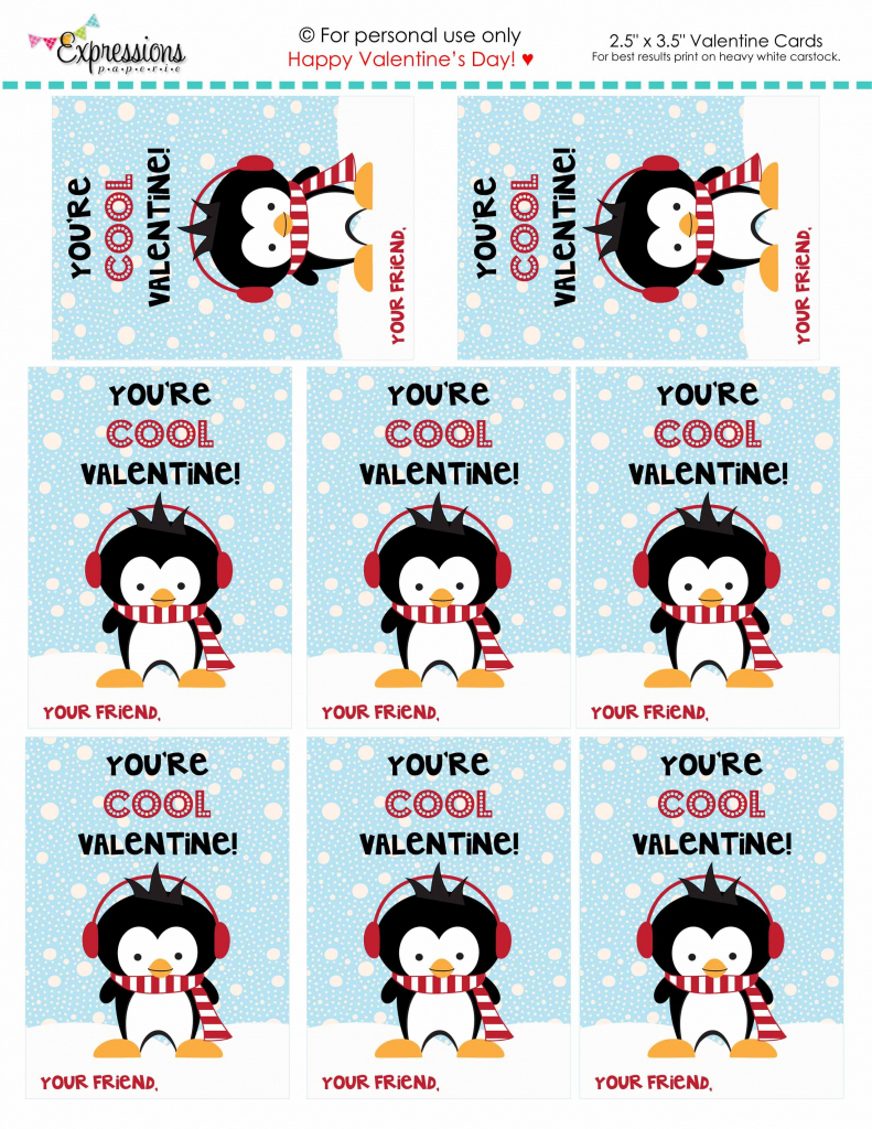 You're Cool Penguin Free Valentine's Day Printablesexpressions | Printable Penguin Valentine Cards