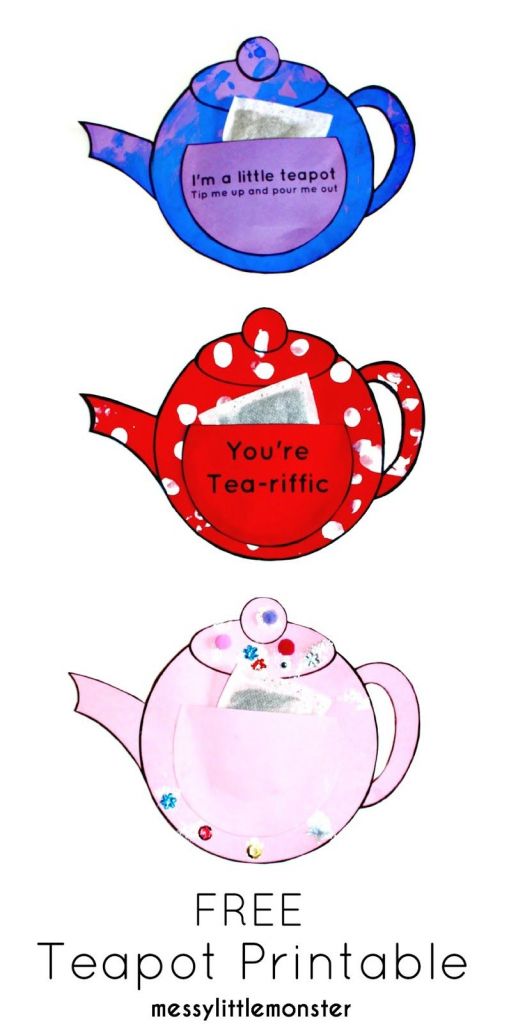 You're Tea-Riffic Teapot Craft - Free Printable Teapot Template | Teapot Mother's Day Card Printable Template