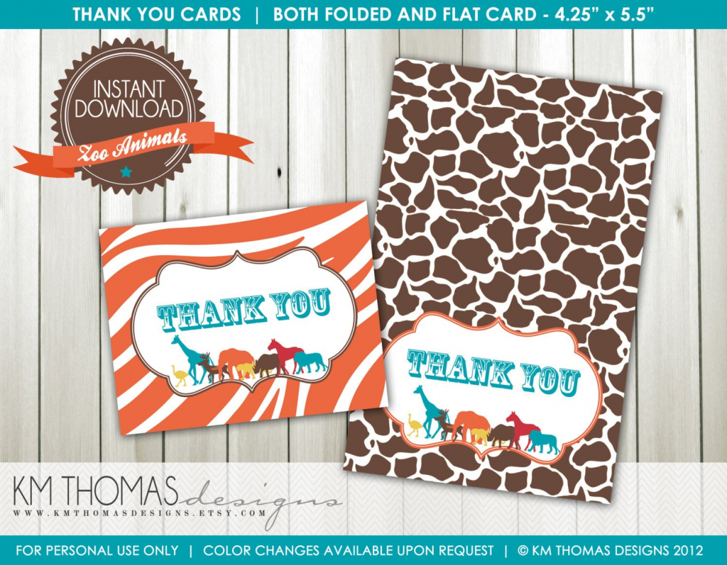 Zoo Animals Thank You Cards Flat Cards Folded Cards | Etsy | Thomas Thank You Cards Printable